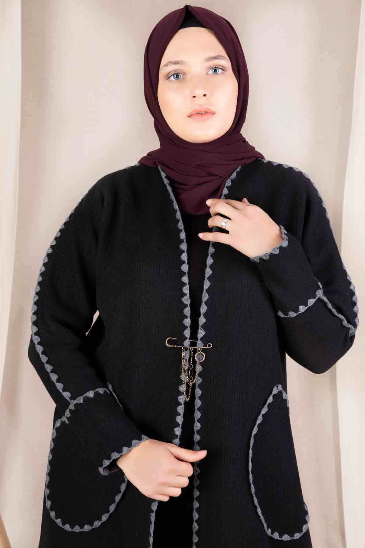 Sahra Triko Hırka Siyah 60043