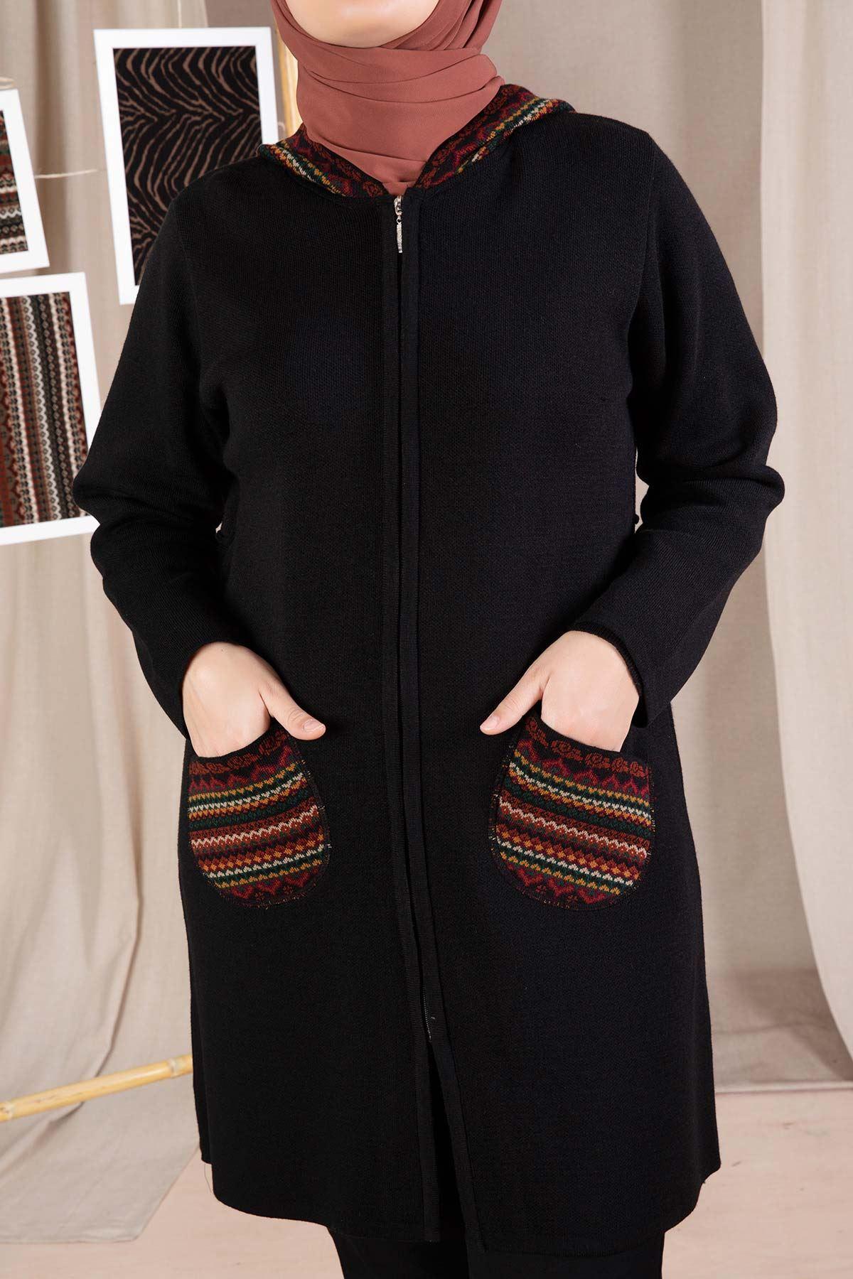 Hazen Triko Ceket Siyah 9924