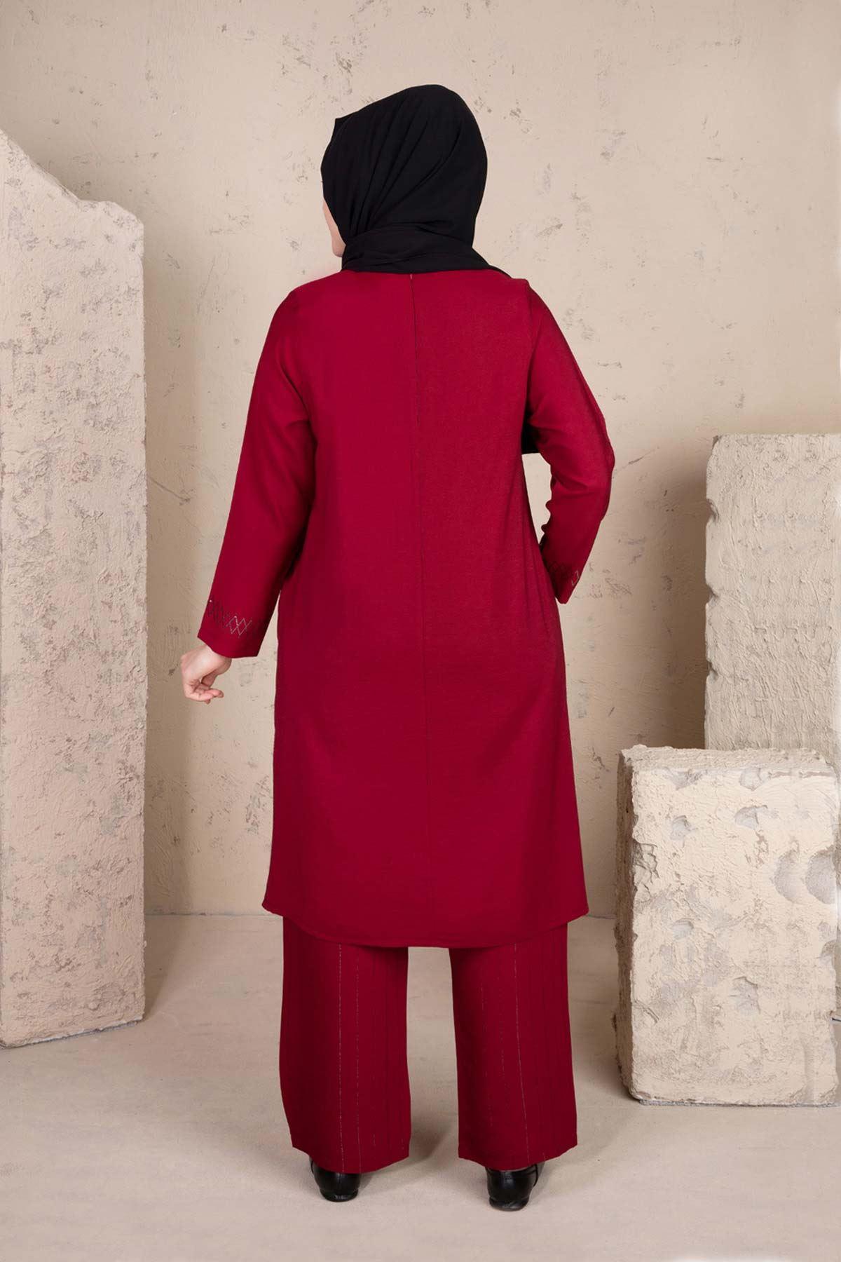 Pera Pantolonlu Takım Bordo 38001