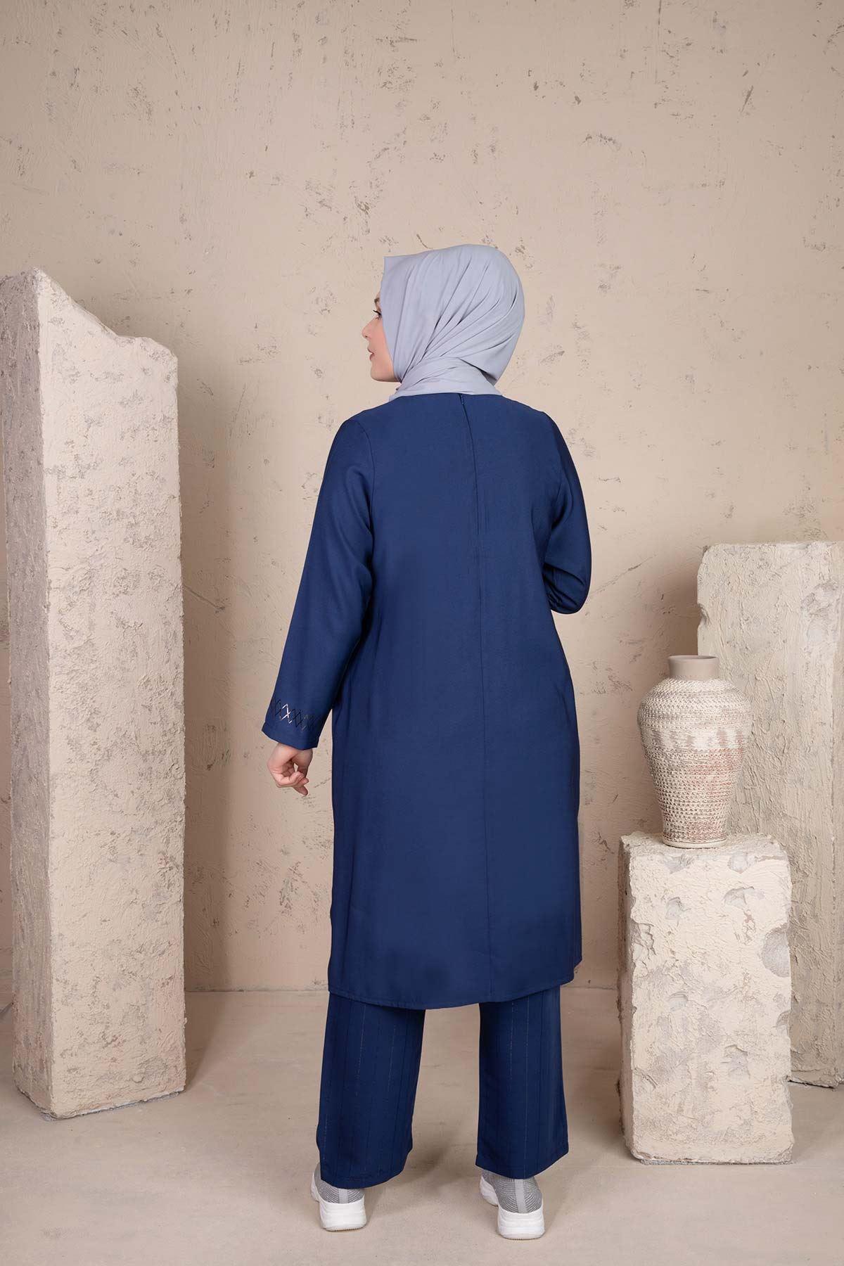 Pera Pantolonlu Takım İndigo 38001