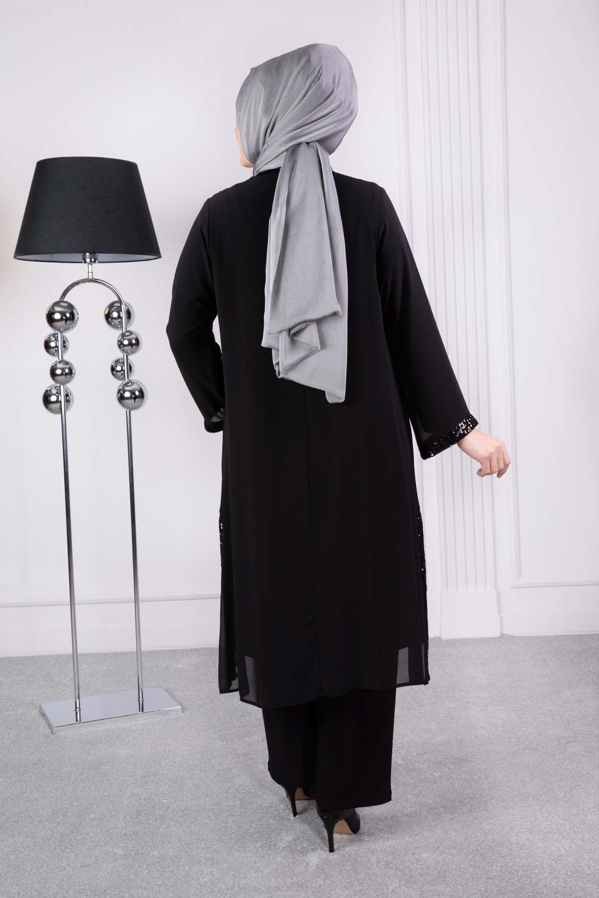 Hira Pantolonlu Siyah Takım 60001