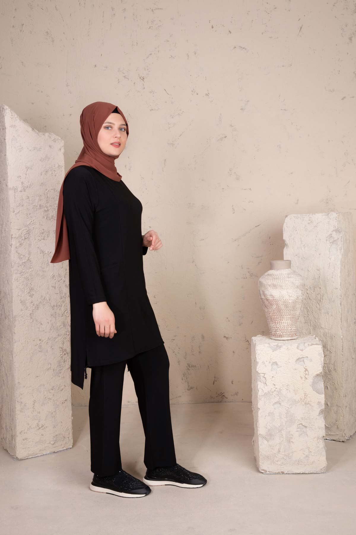 Hamra Pantolonlu Takım Siyah 35005