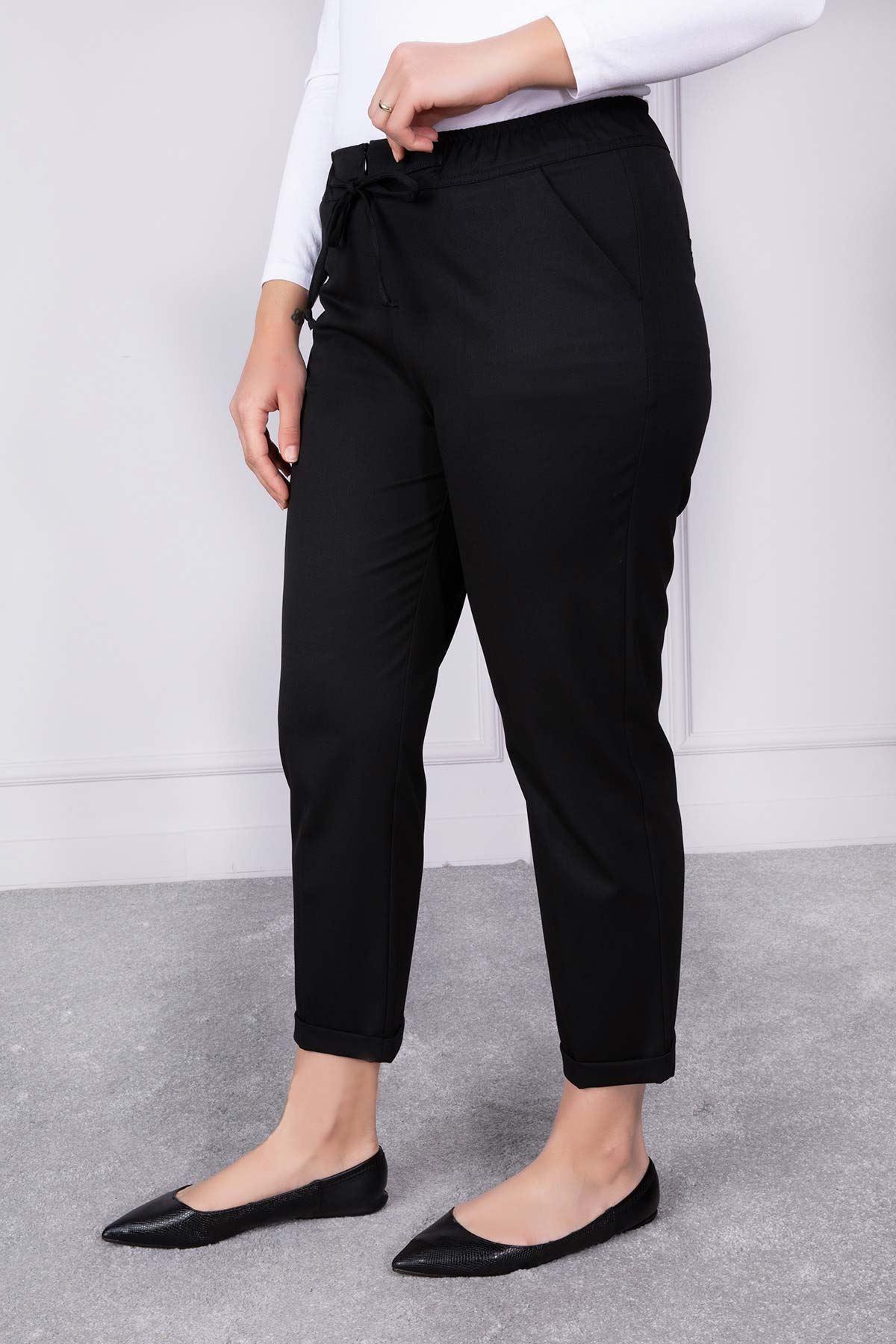 Duble Paça Lastikli Pantolon Siyah 2157-01