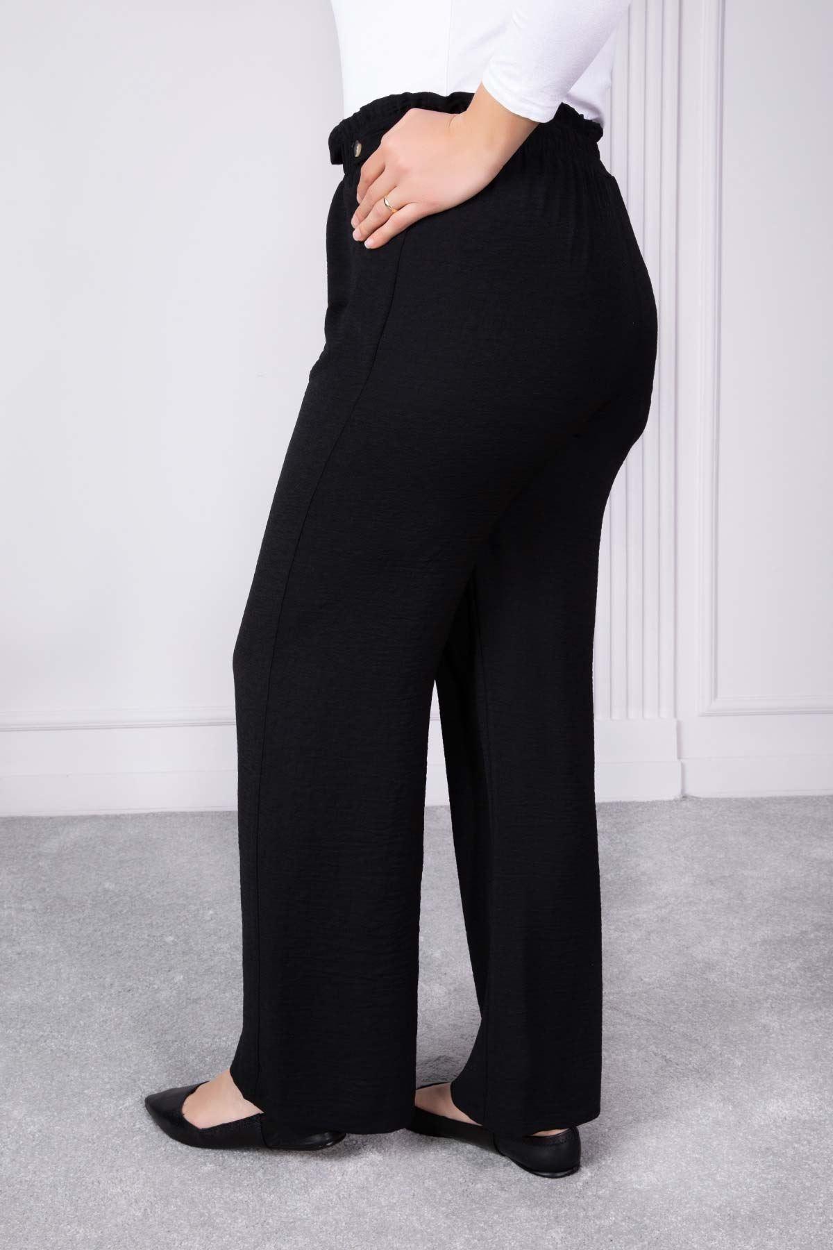 Düğme Detaylı Bol Paça Pantolon Siyah 1232-34