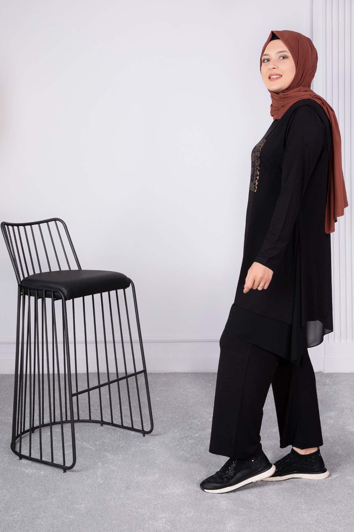 Neva Pantolonlu Takım Siyah 35007