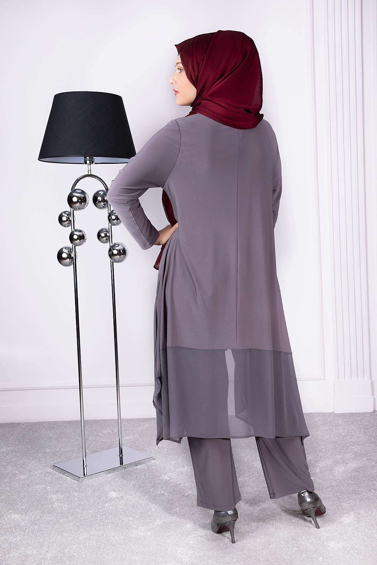 Alin Pantolonlu Takım Gri 35009