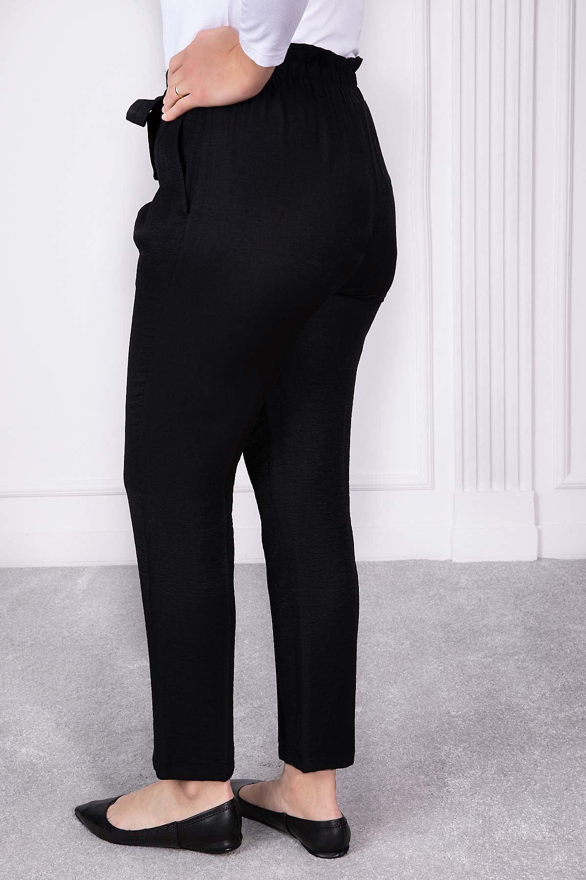 Kuşak Ve Lastik Detaylı Pantolon Siyah 1226-76