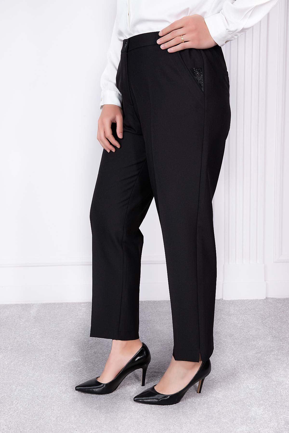 Taş Detaylı Pantolon Siyah 2163-61