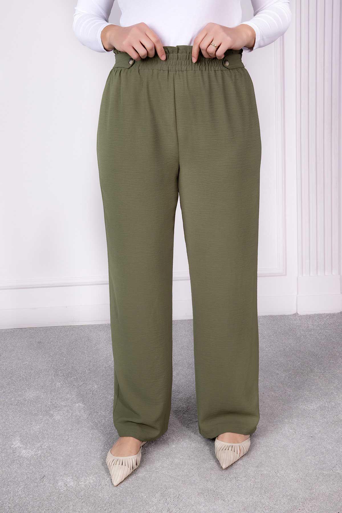 Düğme Detaylı Bol Paça Pantolon Haki 1232-34