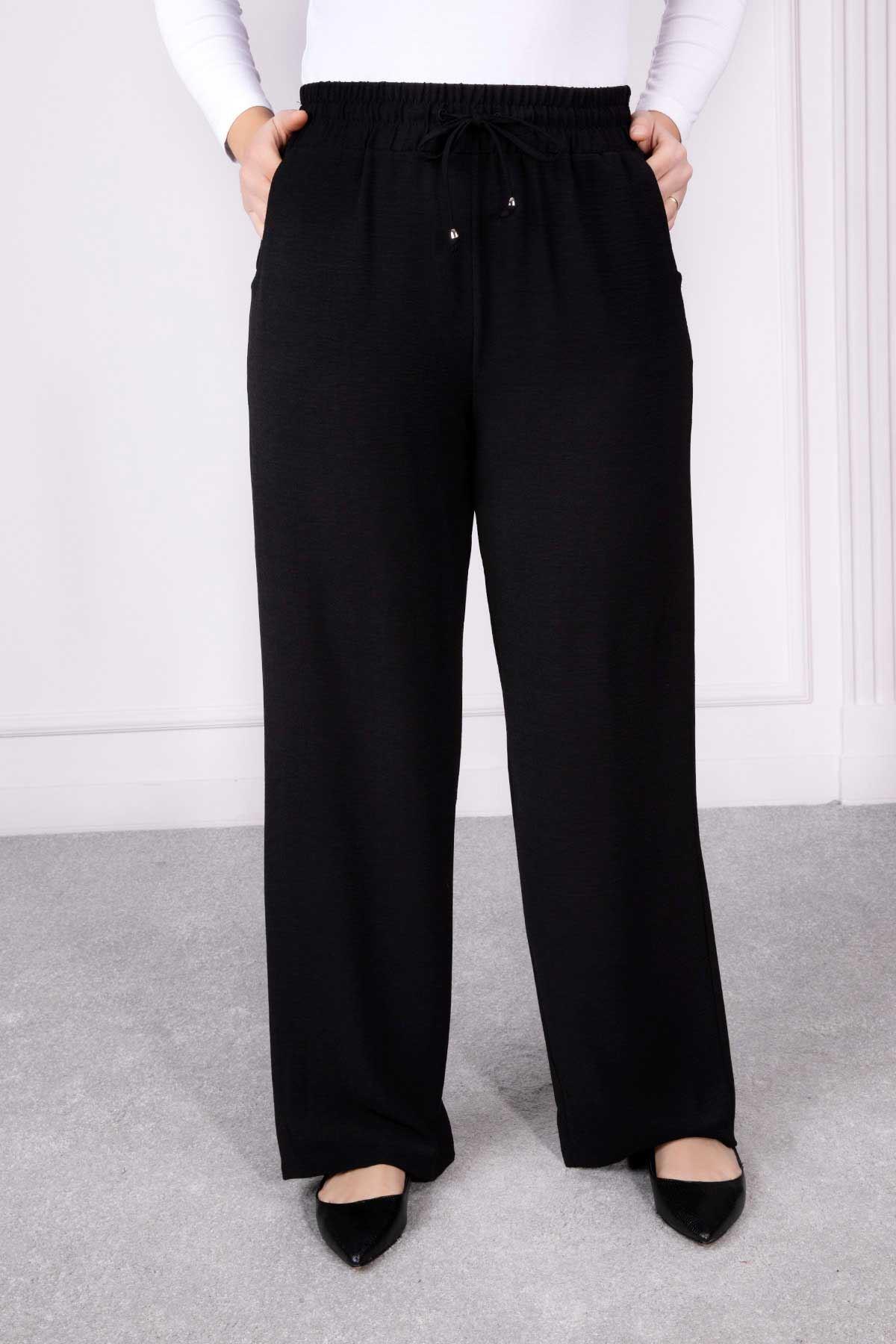 Bel Lastikli Bol Paça Pantolon Siyah 2209-32