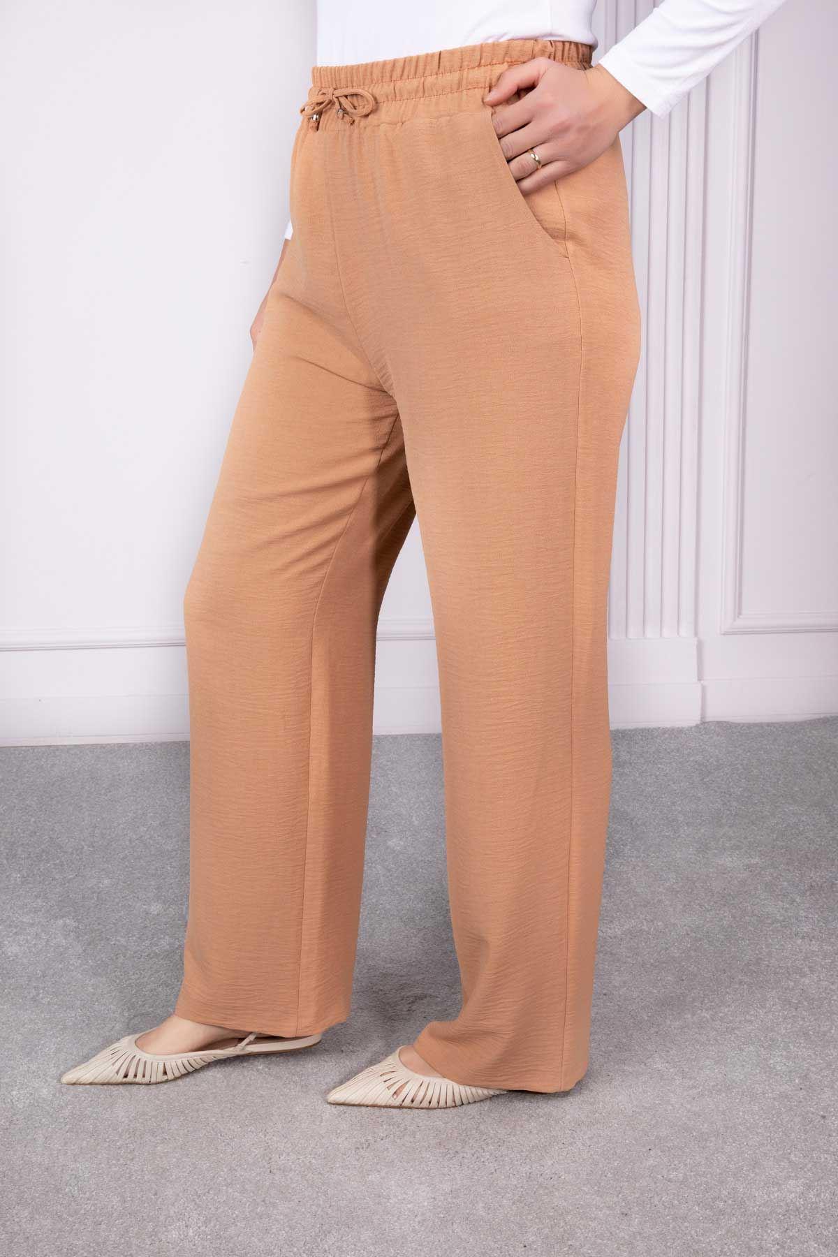 Bel Lastikli Bol Paça Pantolon Camel 2209-32