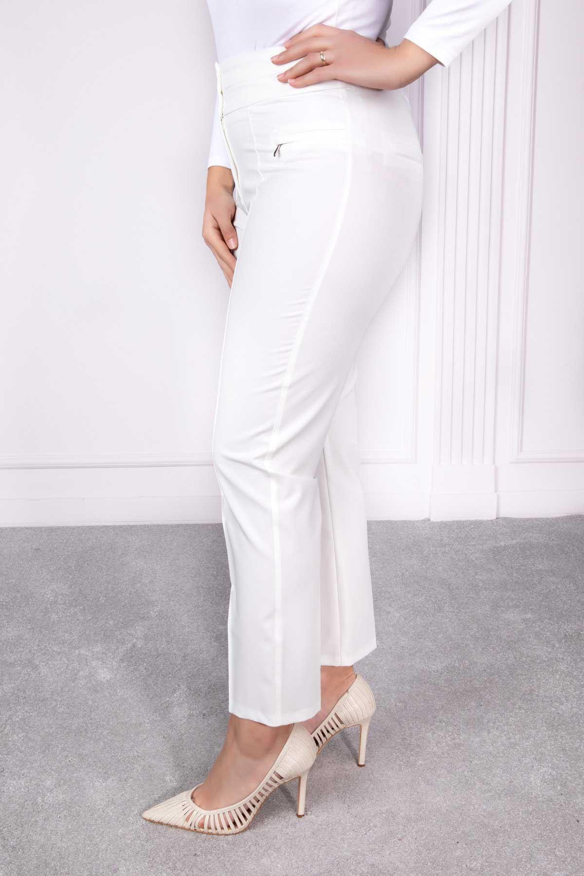 Çift Kemer Bilek Pantolon Beyaz 2169-01