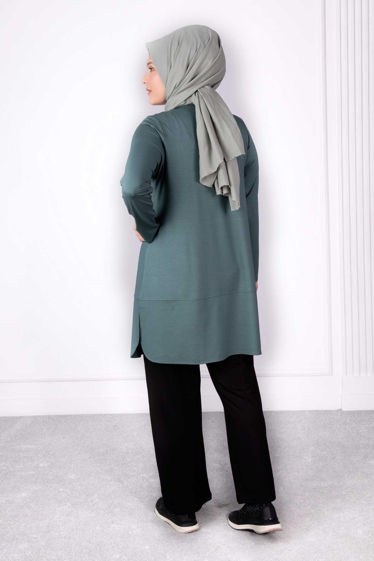 Büyük Beden Pantolonlu Takım Mint 35012
