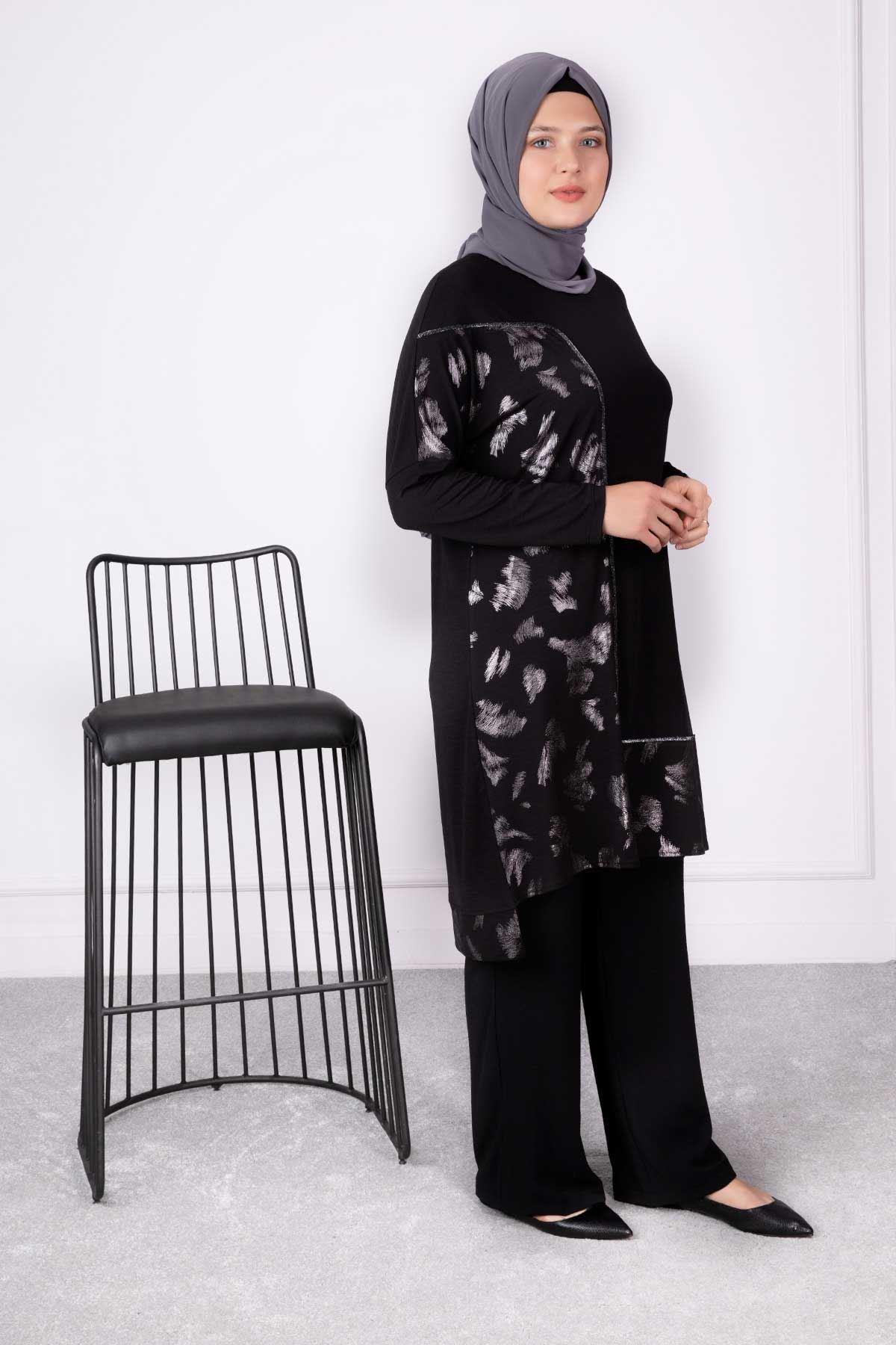 Yaprak Tunik Siyah 20003