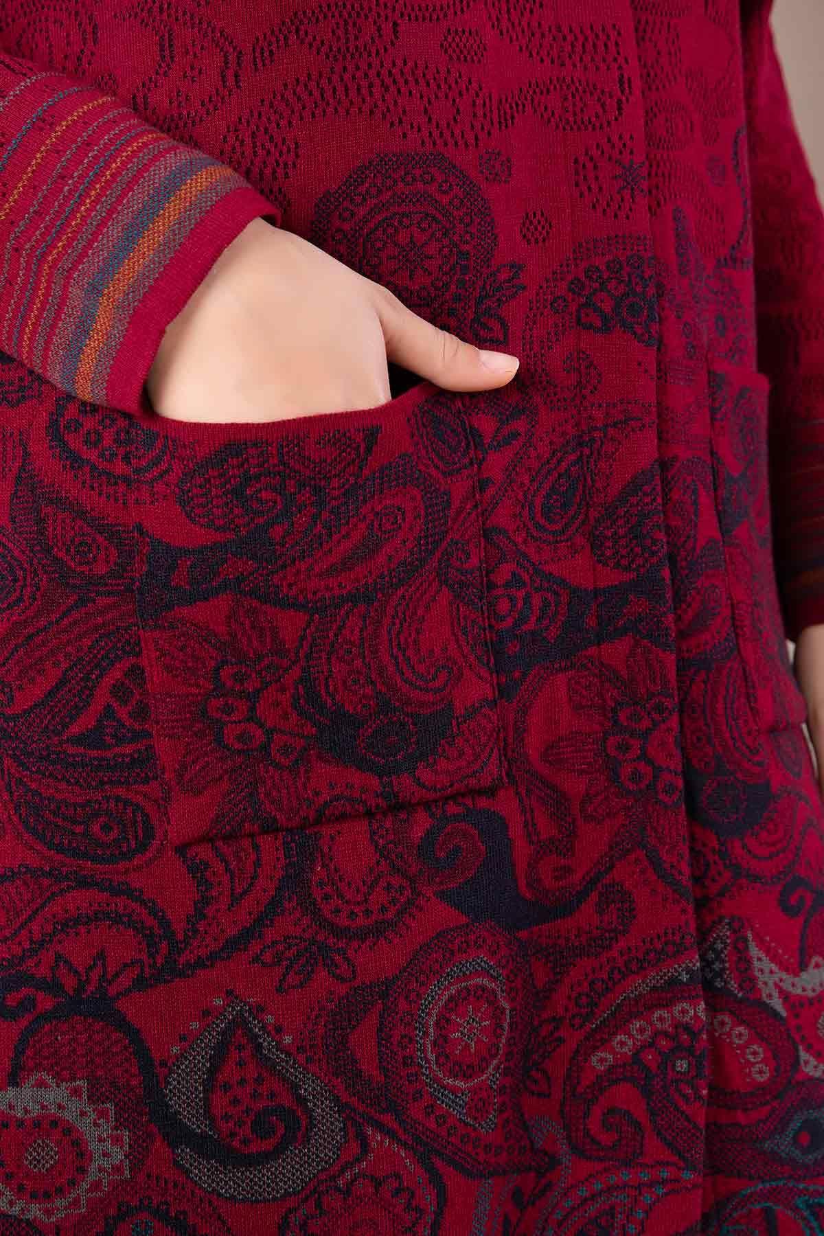 Büyük Beden Tesettür Triko Ceket K.Kırmızı 9302