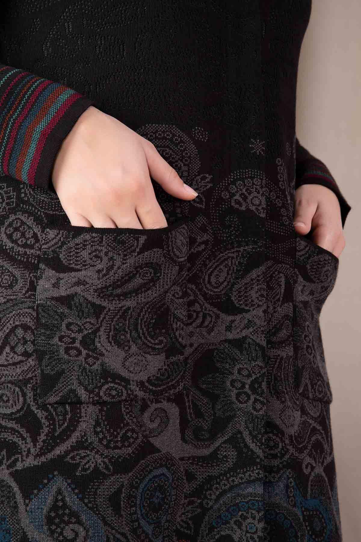 Büyük Beden Tesettür Triko Ceket Siyah 9302