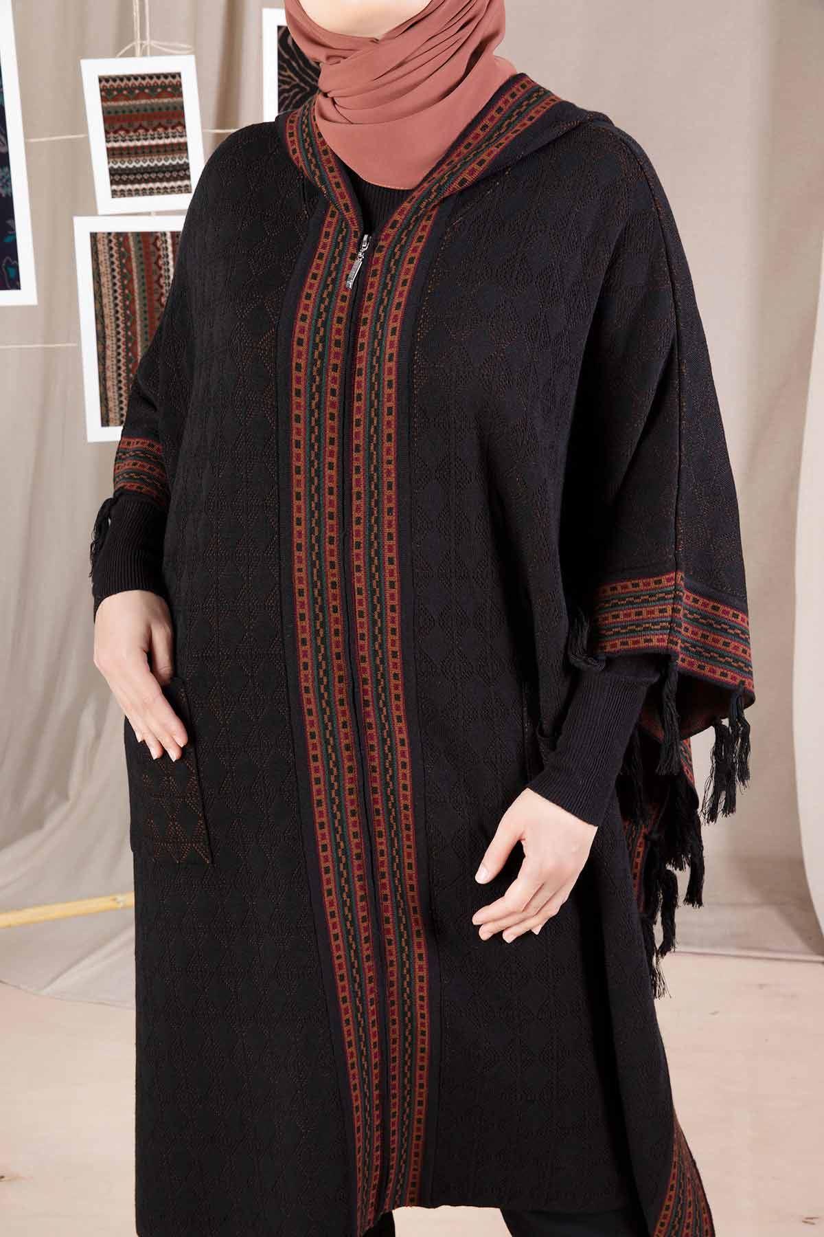 Büyük Beden Tesettür Triko Panço Siyah 9601