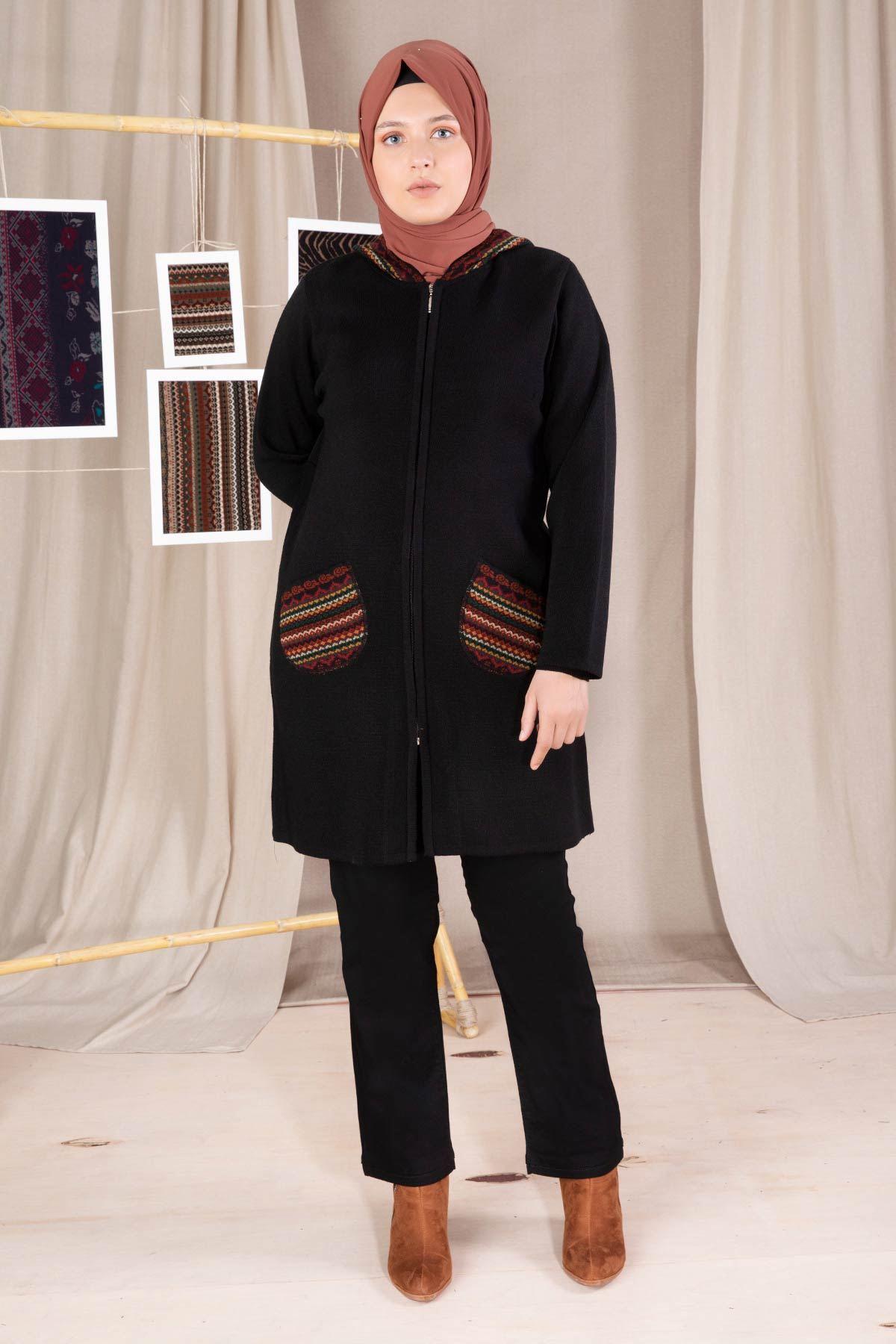 Büyük Beden Tesettür Triko Ceket Siyah 9205