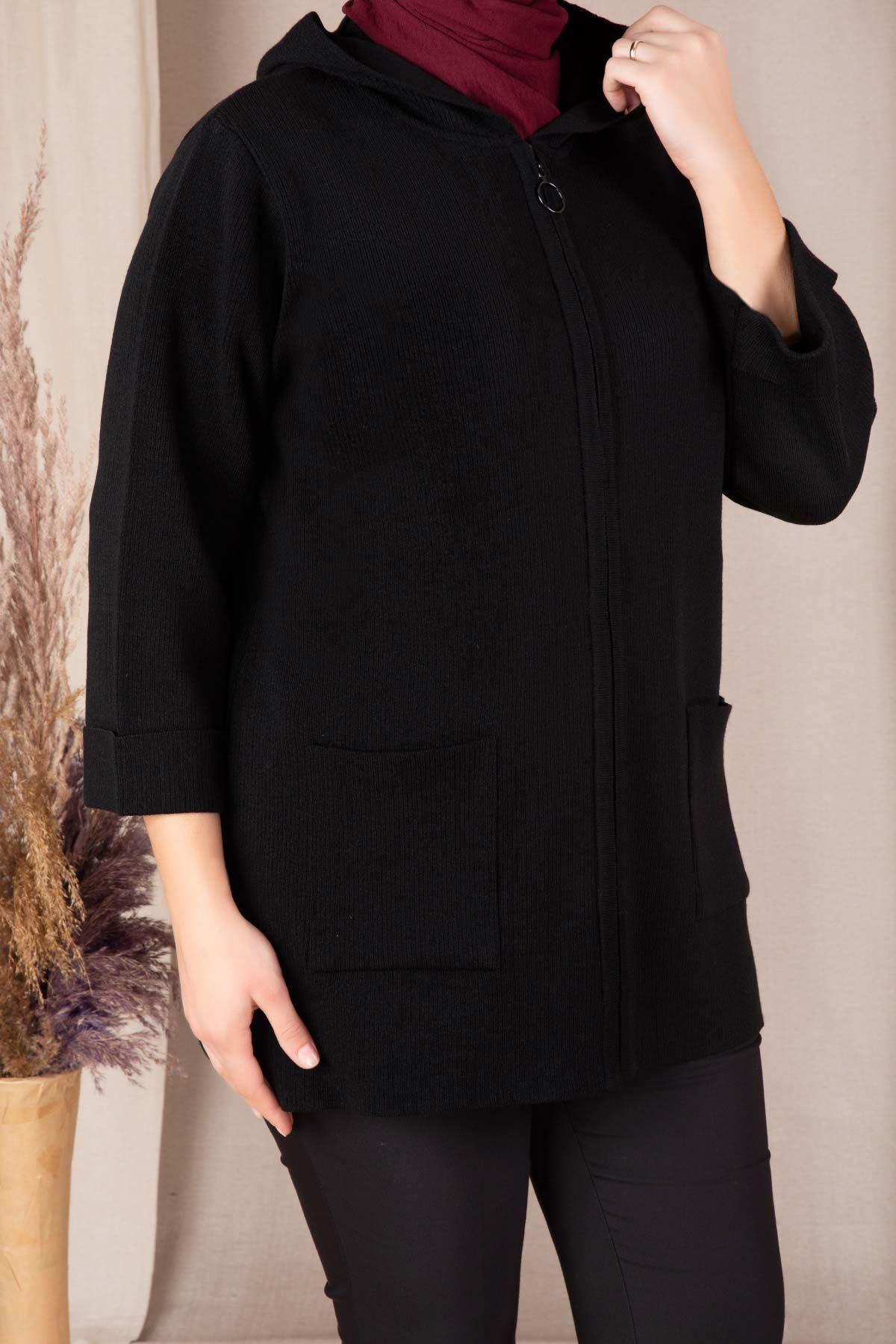 Büyük Beden Tesettür Triko Ceket Siyah 9923