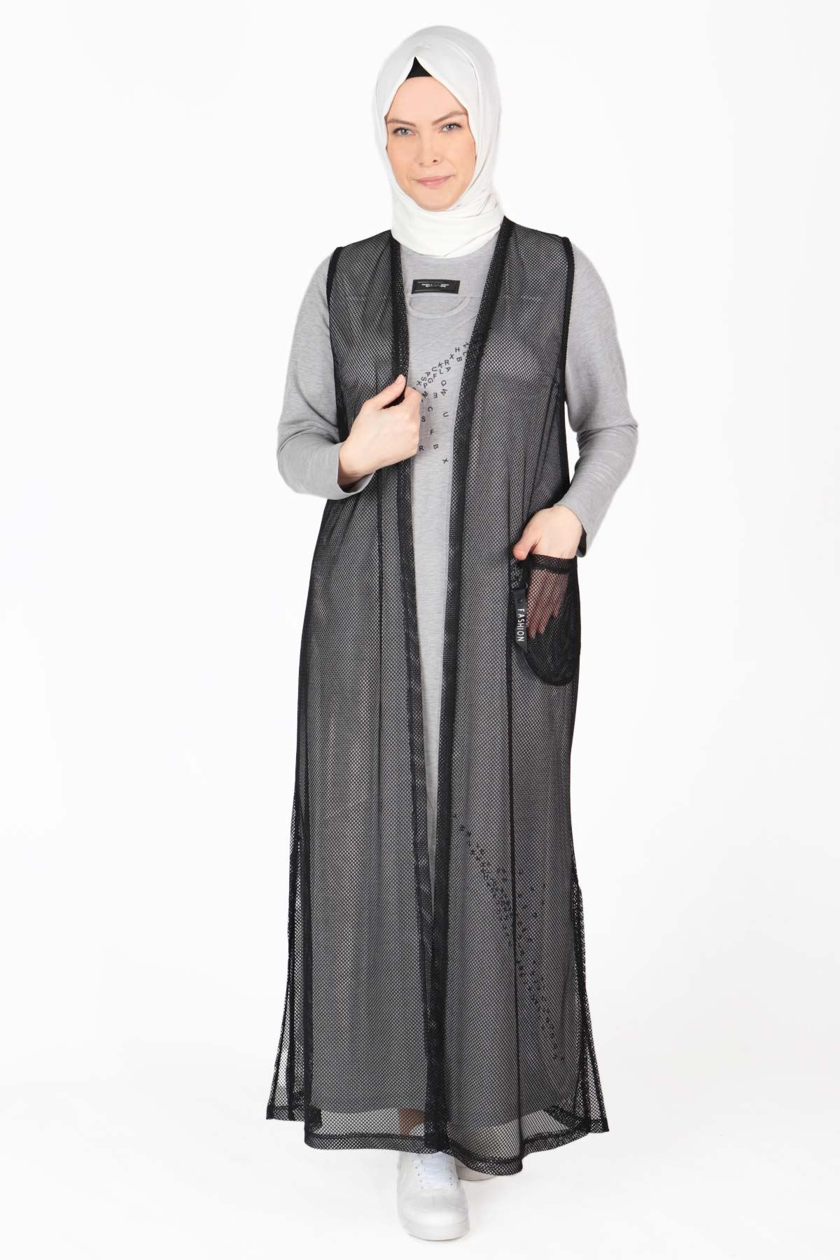 Büyük Beden Tesettür Elbise Gri 40003