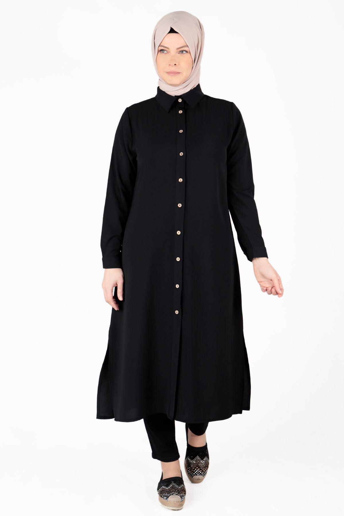 Büyük Beden Tesettür Tunik Siyah 23010