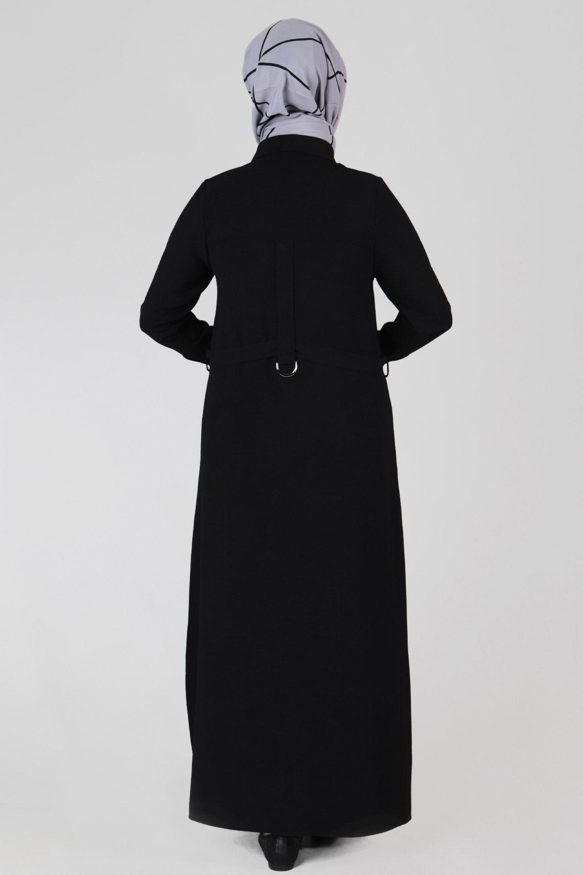Büyük Beden Tesettür Ferace 28023 Siyah