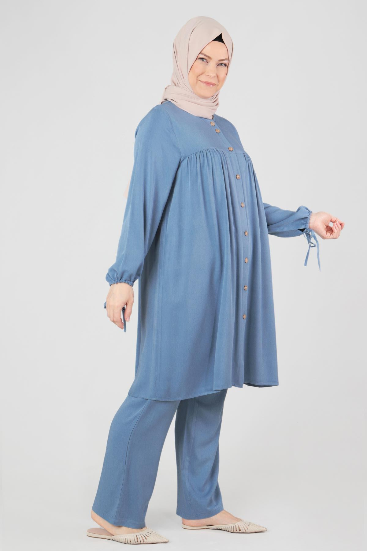 Büyük Beden Tesettür Takım 35038 Mavi