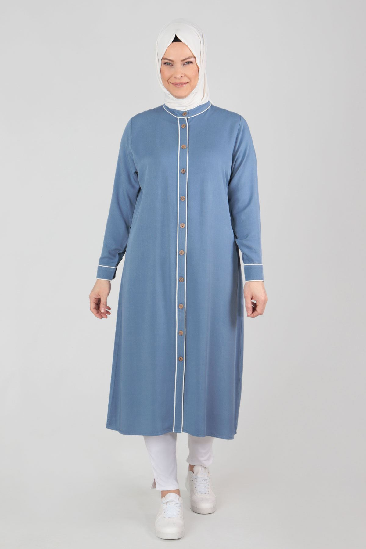 Büyük Beden Tesettür Tunik 23014 Mavi