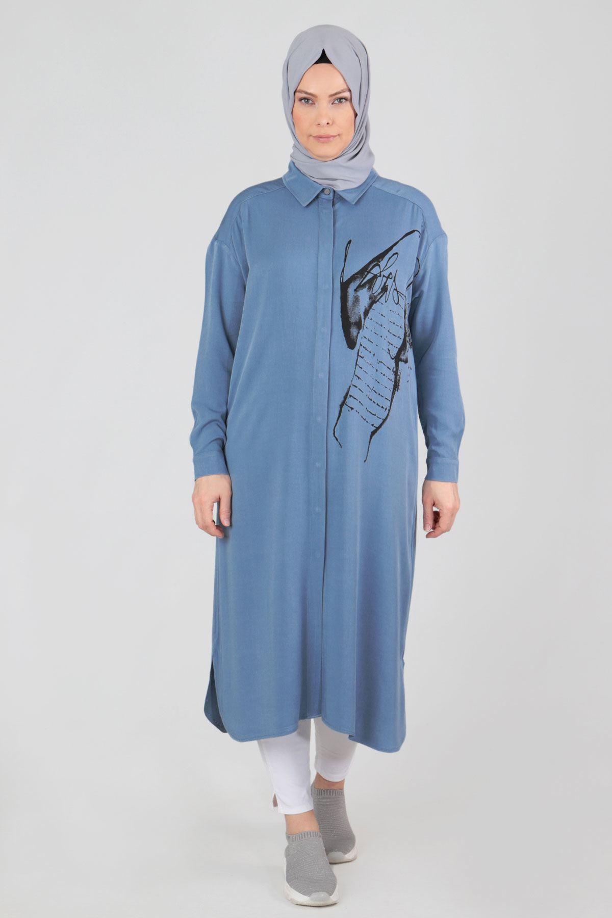 Büyük Beden Tesettür Tunik 23013 Mavi